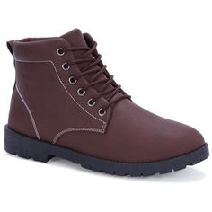 PU Leather Lace Up Vintage Boots