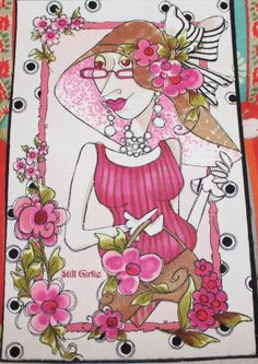Loralie Harris Still Breast Cancer Fabric by EmbellishByAndrea, $6.95