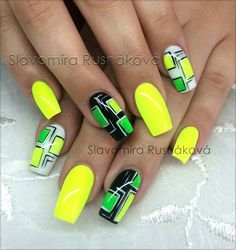 Nail Art Designs and Colors for Summer nageldesign muster Neon Nail Art, Funky Nail Art, Funky Nails, Neon Nails, Cute Nails, Pretty Nails, My Nails, Colorful Nail Designs, Nail Art Designs