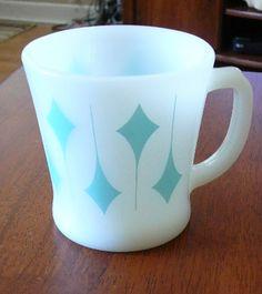 Vintage Fire King Coffee Mug Light Blue Diamond Vg Ebay