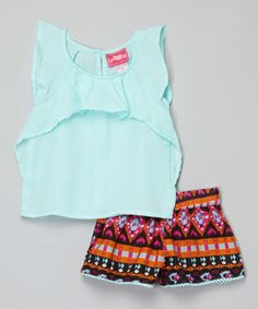 This Girls Luv Pink Light Blue Top & Geo Shorts - Girls by Girls Luv Pink is perfect! #zulilyfinds