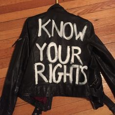 "All saints leather jacket sz 2 Beautiful leather jacket with hand painted ""know your rights"" on the back ... Worn a few times All Saints Jackets & Coats"
