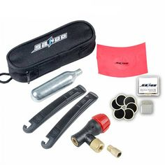 SAHOO Bicycle Bike Repairing Kit Tools Set Mini Portable Tyre Tire Inflator Pump Compressed CO2 Cylinder Patch Crowbar