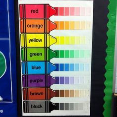 Using paint samples with your basic color cards makes a wonderful bulletin board! No link, just a pic!