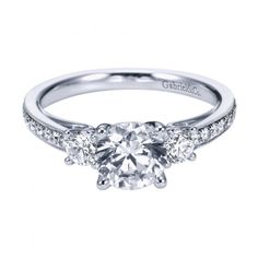1.45cttw 3-Stone Plus Diamond Engagement Ring with Bead Set Side Diamonds