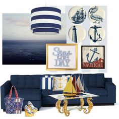 Nautical...Seas The Day.. by kimberlyd-2 on Polyvore featuring interior, interiors, interior design, casa, home decor, interior decorating, Chelsea House, Oilo, Bob's Your Uncle and Green Leaf Art
