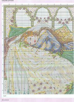 Sleeping Beauty (Joan Elliott) From Cross Stitch Gold 2012 3 of 6 Fantasy Cross Stitch, Cross Stitch Fairy, Cross Stitch Angels, Counted Cross Stitch Patterns, Cross Stitch Designs, Cross Stitch Embroidery, Blackwork, Cross Stitch Boards, Swedish Weaving