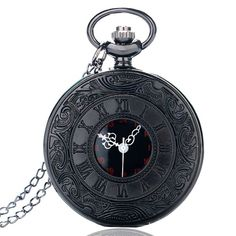 This Black Vintage Pocket Watch features a silver 80cm long chain and opens to reveal a Quartz analog clock with red detail. Perfect for both men and women and can be worn as a necklace or used as a normal pocket watch! Style with your favorite casual outfit and pair with other black and silver jewelry.