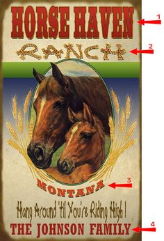 Horse Haven Ranch Sign.  Personalized sign.