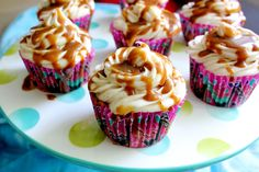 Apples Cupcakes with Cinnamon Cream Cheese Frosting and Honey Caramel