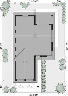 Kliknij aby powiększyć Bungalow, House Plans, Floor Plans, How To Plan, Blueprints For Homes, Home Layouts, Bungalows, House Floor Plans, House Design