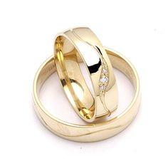 Moderne trouwringen in 9 karaat goud 0,036 ct - set