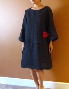 pure linen dress pleated flowers free line by annyschooclothing