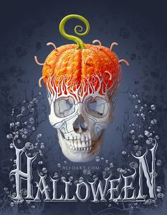 Learn how to create a Halloween Card with the decorative skull, skull brushes, pumpkin brains effect and creepy text in a few easy steps using Adobe Photoshop Read tutorial at AlfoArt… Retro Halloween, Halloween Kunst, Photo Halloween, Halloween Artwork, Halloween Pictures, Creepy Halloween, Halloween Signs, Halloween Wallpaper, Halloween Skull