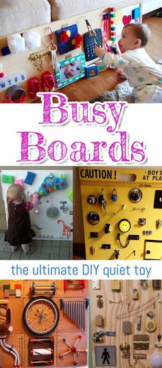 NEW: Sensory Board PICTURES! DIY Toddler Busy Boards for 2019 Busy Boards - the ultimate DIY quiet toy! How to make sensory board and busy boards for toddlers and kids of all ages. Baby Sensory Board, Toddler Activity Board, Baby Sensory Play, Sensory Boards, Sensory Wall, Diy Sensory Toys For Babies, Sensory Tools, Baby Play, Diy Busy Board