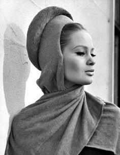 Celia Hammond in hooded hat by Simone Mirman, London, c.1962