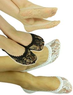 Cute Sexy Comfortable Floral Lace Sheer Footie Soft Foot Invisible Shoe Liner Below Ankle Cover Socks