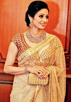 Sridevi In Cream Colored Designer Saree