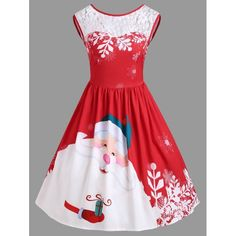Christmas Lace Insert Santa Claus Print Party Dress - Red M Mobile