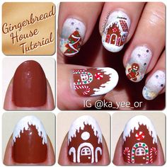 Nail Art Tutorial: Gingerbread House Nails