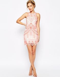 1920s Frock and Frill Mini Shift Dress In All Over Sequin