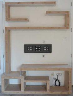 photo-fabriquer-meuble-tv-08 Room Design, Tv Wall Unit, Tv Wall Design, Small Bathroom Decor, Tv Shelf, Door Design Wood, Tv Wall Decor, Wall Unit, Diy Home Decor On A Budget