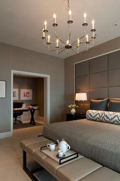 Bedroom Design: Modern Chic Master Bedroom with a home office with. Chic Master Bedroom, Master Bedroom Design, Home Decor Bedroom, Bedroom Furniture, Bedroom Ideas, Master Suite, Bedroom Office, Bedroom Interiors, Bedroom Photos