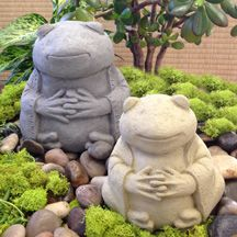Zen Frog Garden Sculpture will add whimsy, playfulness and peace to any garden setting. Made in the USA.
