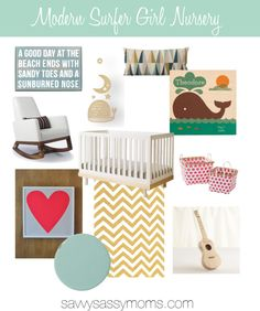 If you're expecting a pink summer bundle of joy, a modern surfer girl nursery might be just what you're looking for.