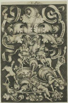 Israhel van Meckenem - Ornament With Flower and Eight Wild Folk, 1490/1500