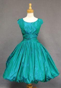 Rustling Green Taffeta Vintage Party Dress