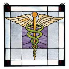 FREE SHIPPING! Shop Wayfair for Meyda Tiffany Americana Medical Stained Glass Window - Great Deals on all Decor products with the best selection to choose from!