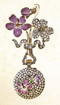 Miniature Yellow Gold, Enamel and Diamond-set Pendant Watch with Matching Violet Motif Brooch circa 1910