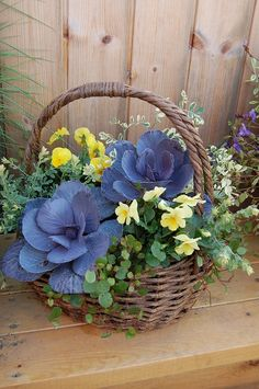 Japanese flower arrangement--love those big blue flowers! Beautiful Flowers, Flower Pots, Flower Arrangements, Flower Planters, Flowers, Container Gardening Flowers, Autumn Garden, Container Flowers, Flower Garden