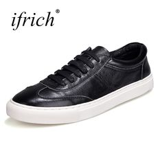 Ifrich 2018 New Genuine Leather Casual Shoes Men White Black Mens Fashion Sneakers Lace Up Spring Summer Footwears #Affiliate