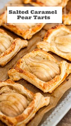 Salted Caramel Puff Pastry Pear (or any fruit) Tarts. Pear Dessert Recipes, Fruit Recipes, Desert Recipes, Baking Recipes, Recipes With Pears, Vitamix Recipes, Jelly Recipes, Smoothie Recipes, Delicious Desserts