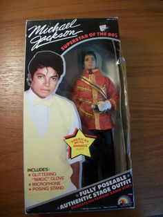 "1984 Michael Jackson ""American Music Awards"" collector doll NIB on Etsy...$150 (wonder how much my naked, band-aid underwear, chewed up toes MJ doll would sell for ;) eh....i'd never sell it"
