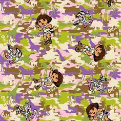 Nickelodeon Dora Camo Cotton Fabric