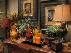 Infusion Interior Design Lakewood, WA. Tuscan decorating and floral arrangement ideas.
