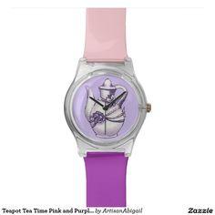 Sold! Thank you to the customer and enjoy! Teapot Tea Time Pink and Purple Wristwatch; Abigail Davidson Art; ArtisanAbigail at Zazzle