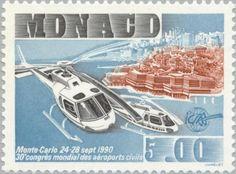Sello: Convention center Monte Carlo; helicopter (Mónaco) (Intl. Congress of the Association of civil airports (ICAA)) Mi:MC 1974,Yt:MC 1737