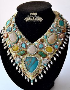 Beautiful embroidered jewelry by Nataly Uhrin (part 3) Click on link to see more photos - http://beadsmagic.com/?p=5465
