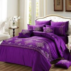 Violet-purple and White Bohemian Hippie Style Moroccan Tribal Print Embroidered Elegant Girls Cotton Full, Queen Size Bedding Sets Purple Bedroom Design, Purple Bedrooms, Girl Bedroom Designs, Modern Bedroom Design, Plum Bedroom, Bathroom Designs, Purple Bedding Sets, Damask Bedding, Luxury Bedding Sets