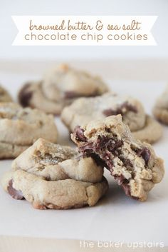 Browned butter and sea salt chocolate chip cookies from The Baker Upstairs. So flavorful and rich, with an amazing browned butter taste. A delicious treat everyone will love! http://www.thebakerupstairs.com