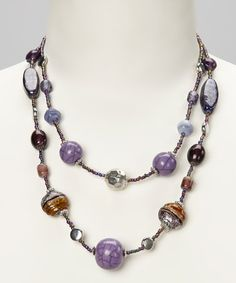 Take a look at this Purple & Silver Glass Beaded Double-Strand Necklace by Majestic on #zulily today!