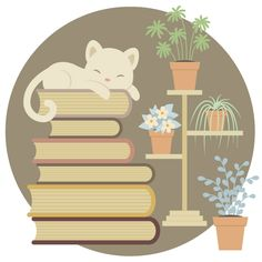 How to Create a Sleeping Cat on a Pile of Books and Indoor Plants in Adobe Illustrator #graphicdesign #illustratortutorials #vectortutorials