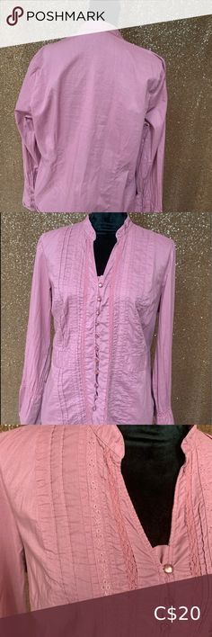Peasant Style button down blouse with bell cuffs Button Downs, Button Down Shirt, Dusty Pink, Pink Color, Lace Detail, Looks Great, Cuffs, Ruffle Blouse, Pearl