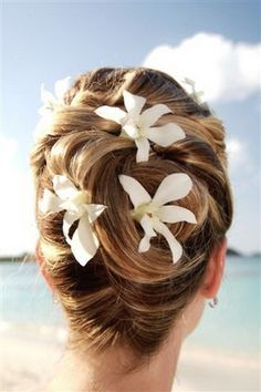 pretty orchids in simple updo