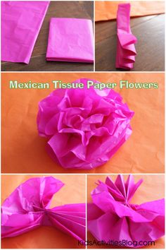 Make a Paper Flower for Cinco De Mayo {Tissue Paper Craft} Make some Mexican paper flowers for Cinco de Mayo. Celebrate Mexican heritage and pride with this tissue paper flowers tutorial! Mexican Paper Flowers, Paper Flowers For Kids, Tissue Paper Flowers, Kids Crafts, Crafts To Make, Mexican Crafts Kids, Tape Crafts, Tissue Paper Crafts, Diy Paper