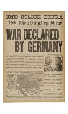 """Historic Newspapers~ Red Wing Daily Republican dated 08/01/1914 -- """"Extra"""" edition announcing the beginning of World War I. On exhibit in the News Corporation News History Gallery at the Newseum. Newseum collection Photo credit: Newseum collection"""